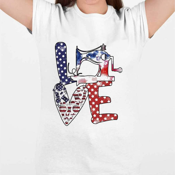 Love Sewing Machine American Flag Independence Day T-shirt M By AllezyShirt