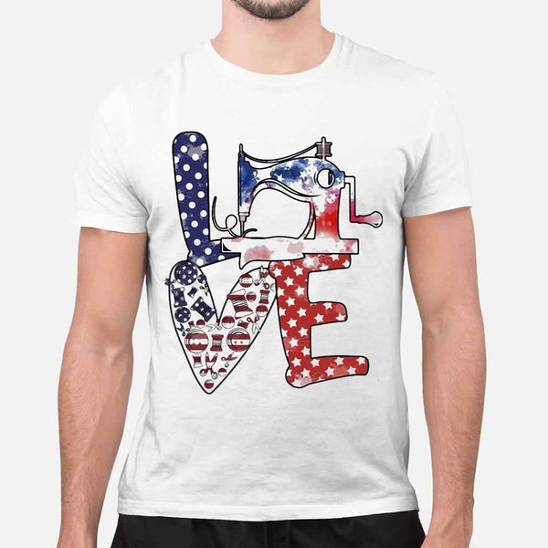 Love Sewing Machine American Flag Independence Day T-shirt S By AllezyShirt