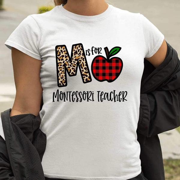 M Is For Montessori Teacher Apple Buffalo Plaid T-shirt M By AllezyShirt