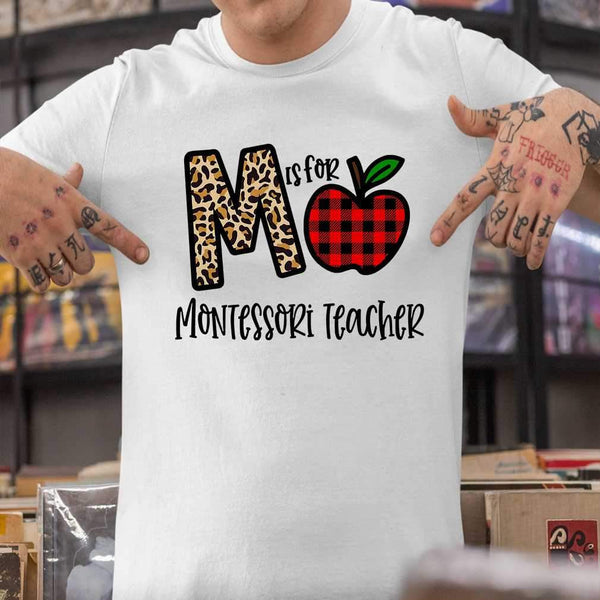 M Is For Montessori Teacher Apple Buffalo Plaid T-shirt S By AllezyShirt