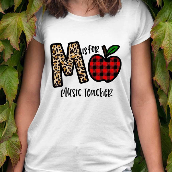 M Is For Music Teacher Apple Buffalo Plaid T-shirt M By AllezyShirt