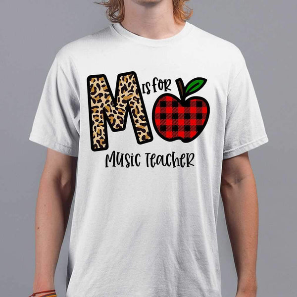 M Is For Music Teacher Apple Buffalo Plaid T-shirt S By AllezyShirt