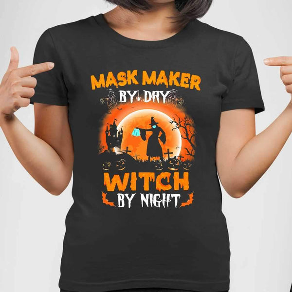 Maks Maker By Day Witch By Night Halloween Blood Moon T-shirt M By AllezyShirt