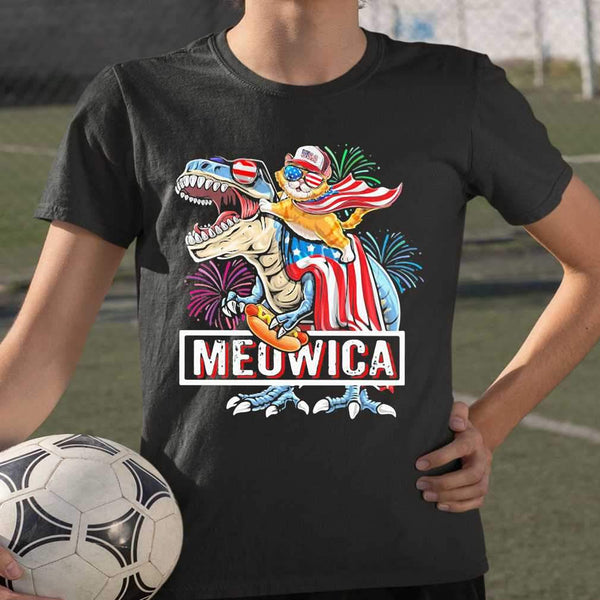 Meowica Dinosaur Cat Firework American Flag Independence Day T-shirt S By AllezyShirt