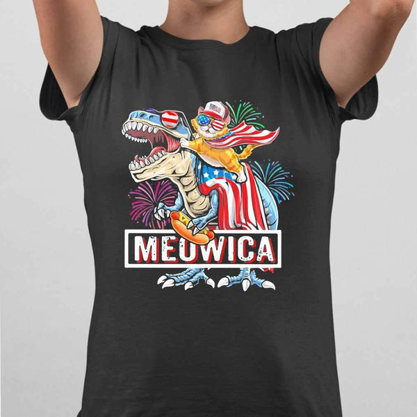 Meowica Dinosaur Cat Firework American Flag Independence Day T-shirt M By AllezyShirt