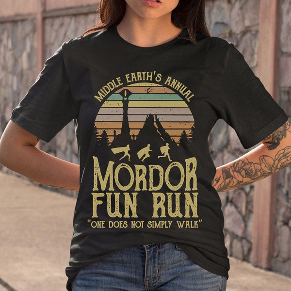 Middle Earth's Annual Mordor Fun Run One Does Not Simply Walk Vintage T-shirt S By AllezyShirt