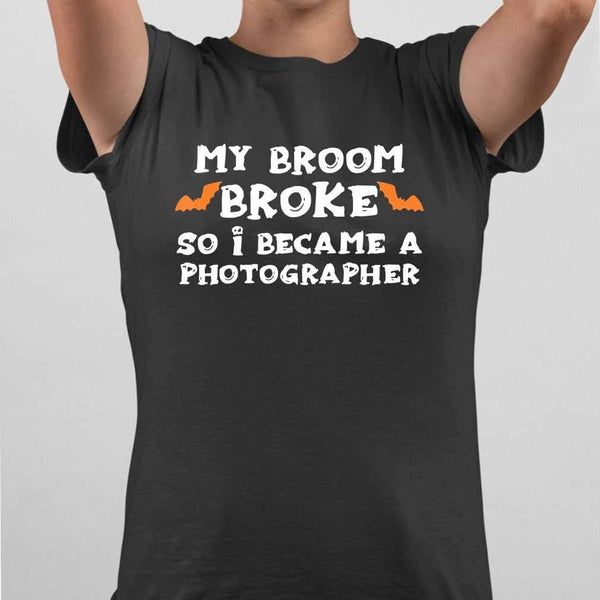 My Broom Broke So I Became A Photographer Halloween T-shirt M By AllezyShirt