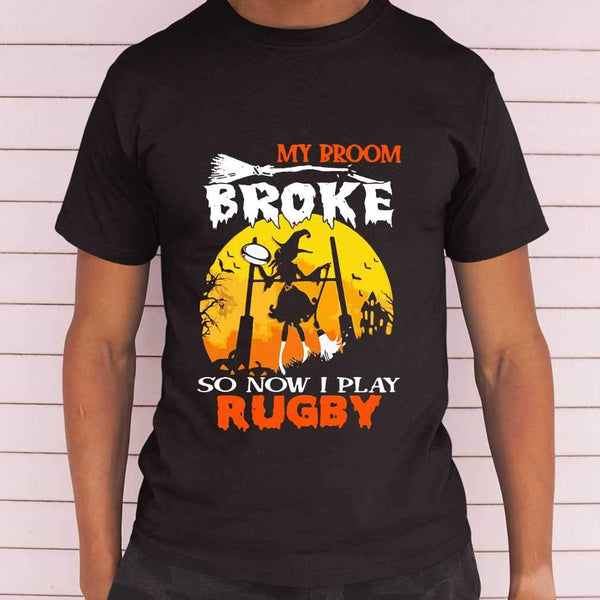 My Broom Broke So Now I Play Rugby Witch Blood Moon Halloween T-shirt M By AllezyShirt