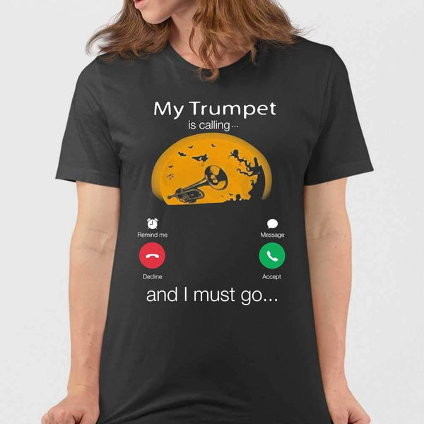My Trumpet Is Calling And I Must Go Moon Halloween T-shirt M By AllezyShirt