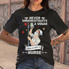 Never Underestimate A Woman Who Is Also A Nurse Mask T-shirt S By AllezyShirt