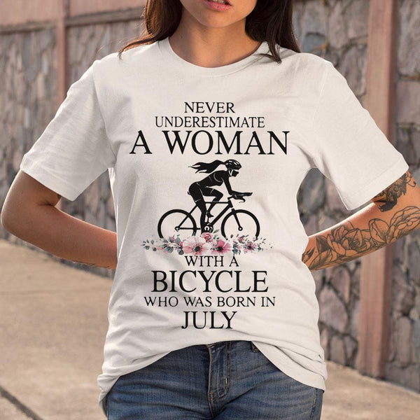 Never Underestimate A Woman With A Bicycle Who Was Born In July Flowers T-shirt S By AllezyShirt