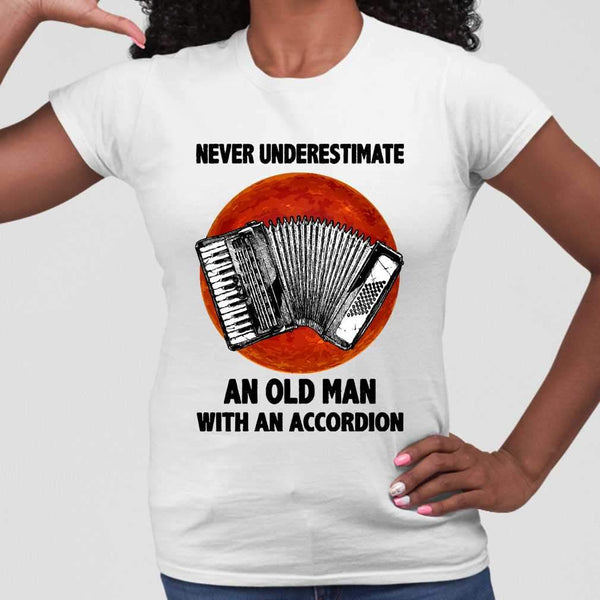 Never Underestimate An Old Man With A Accordion Blood Moon T-shirt M By AllezyShirt