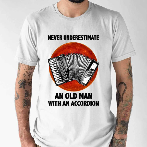 Never Underestimate An Old Man With A Accordion Blood Moon T-shirt S By AllezyShirt