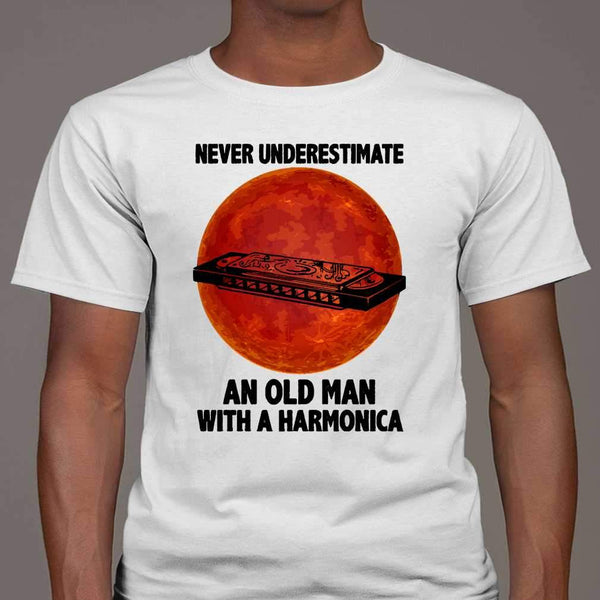 Never Underestimate An Old Man With A Harmonica Blood Moon T-shirt M By AllezyShirt
