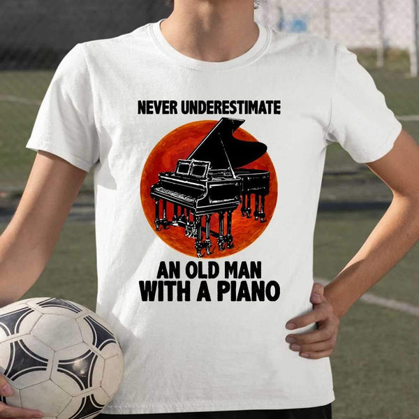 Never Underestimate An Old Man With A Piano Blood Moon T-shirt M By AllezyShirt