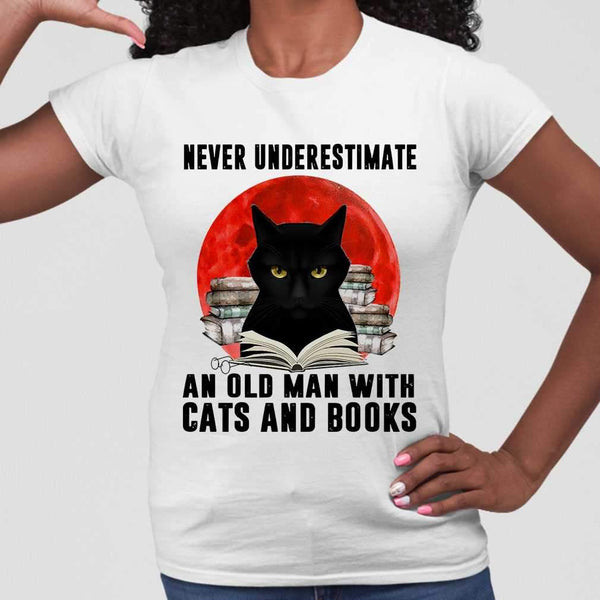Never Underestimate An Old Man With Cats And Books Blood Moon T-shirt M By AllezyShirt
