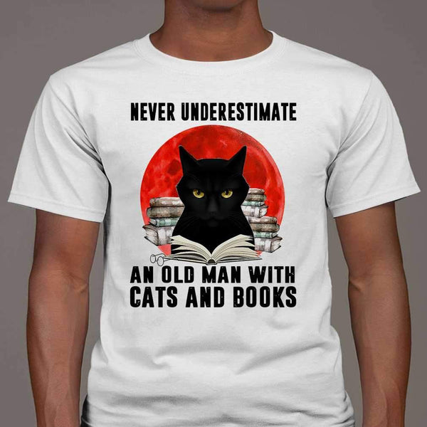 Never Underestimate An Old Man With Cats And Books Blood Moon T-shirt S By AllezyShirt