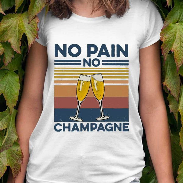 No Pain No Champagne Gym Fitness Vintage T-shirt M By AllezyShirt