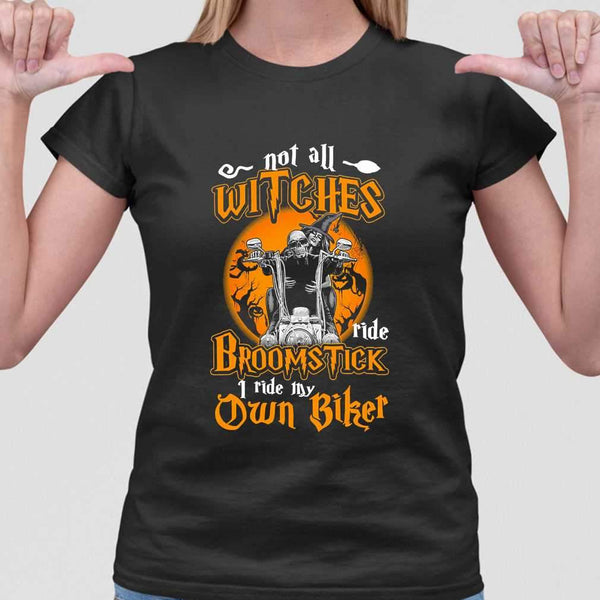 Not All Witches Ride Broomstick I Ride My Own Biker Blood Moon T-shirt M By AllezyShirt
