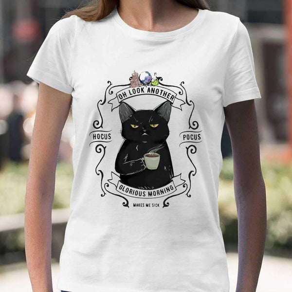 Oh Look Black cat Another Glorious Morning Makes Me Sick Halloween T-shirt M By AllezyShirt
