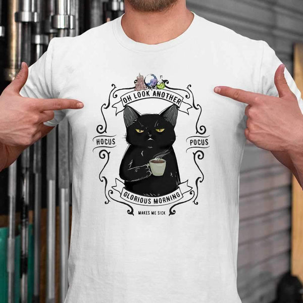 Oh Look Black cat Another Glorious Morning Makes Me Sick Halloween T-shirt S By AllezyShirt