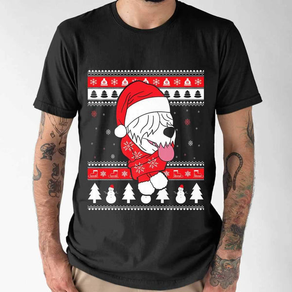 Old English Sheepdog Dog Ugly Christmas T-shirt S By AllezyShirt
