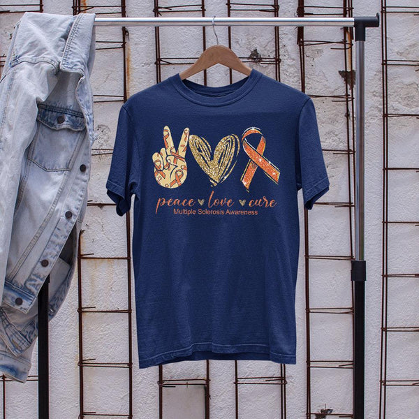 Peace Love Cure Multiple Sclerosis Awareness Shirt M By AllezyShirt