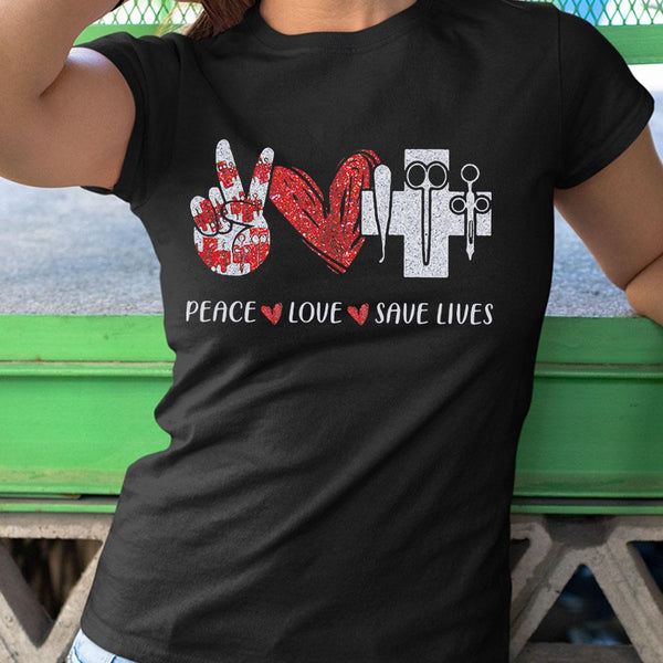 Peace Love Save Lives Diamond Shirt M By AllezyShirt