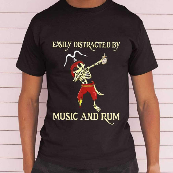 Pirate Skeleton Easily Distracted By Music And Rum T-shirt M By AllezyShirt