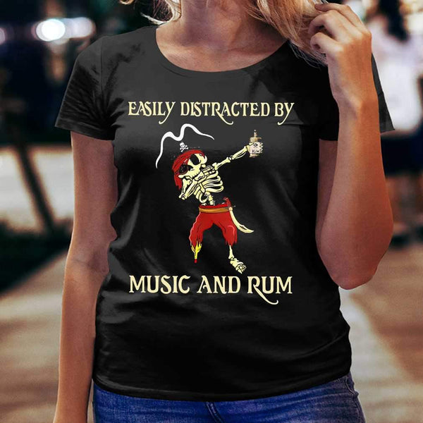Pirate Skeleton Easily Distracted By Music And Rum T-shirt S By AllezyShirt