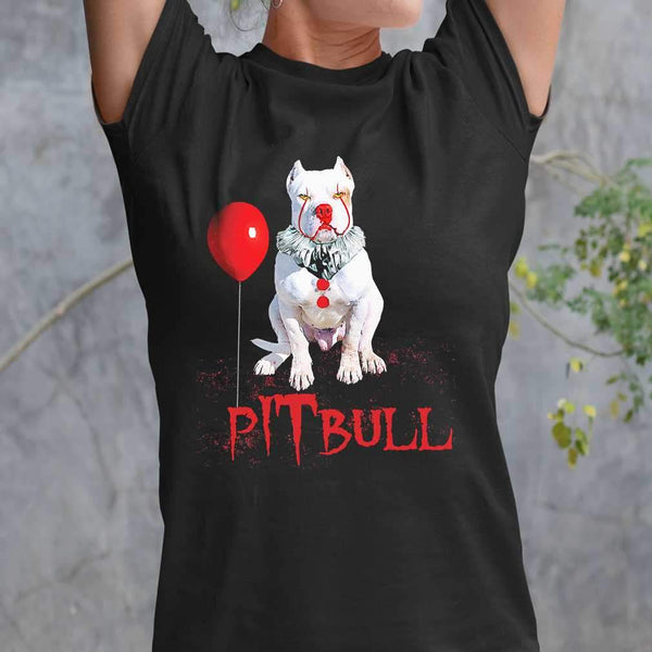 Pitbull Horror Balloon Halloween T-shirt S By AllezyShirt