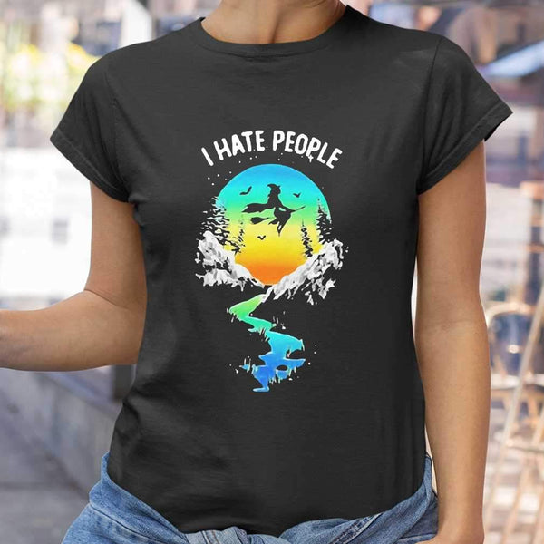 Pretty Witch Go Camping I Hate People T-shirt S By AllezyShirt