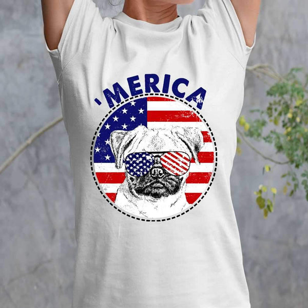 Pug 'Merica Flag Sunglasses Vintage 4th of July USA T-shirt M By AllezyShirt