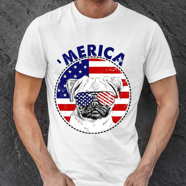 Pug 'Merica Flag Sunglasses Vintage 4th of July USA T-shirt S By AllezyShirt