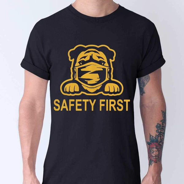 Pug Wear Mask Safety First T-shirt M By AllezyShirt