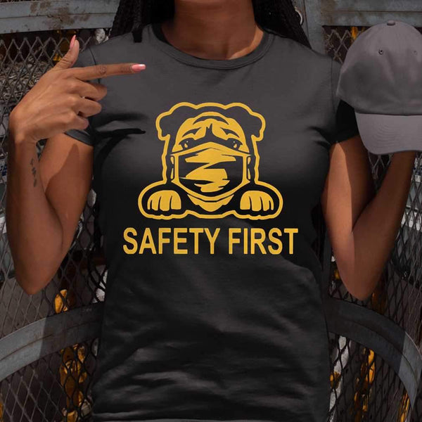 Pug Wear Mask Safety First T-shirt S By AllezyShirt