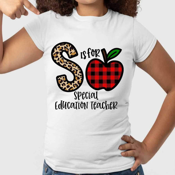 S Is For Special Education Teacher Apple Buffalo Plaid T-shirt M By AllezyShirt