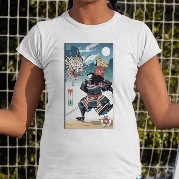 Samurai Vs Virus Demon Corona T-shirt M By AllezyShirt