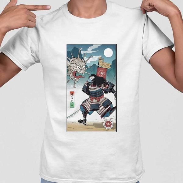 Samurai Vs Virus Demon Corona T-shirt S By AllezyShirt