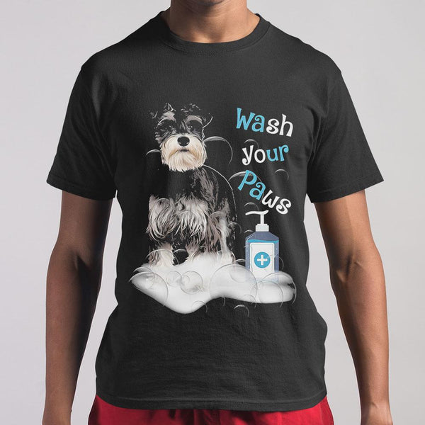 Schnauzer Dog Wash Your Paws Covid-19 T-shirt S By AllezyShirt