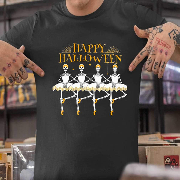 Skeleton Dancing Ballet Happy Halloween T-shirt S By AllezyShirt