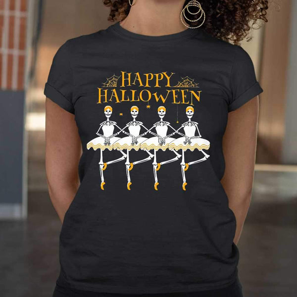 Skeleton Dancing Ballet Happy Halloween T-shirt M By AllezyShirt