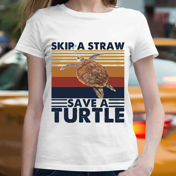 Skip A Straw Save A Turtle Vintage T-shirt M By AllezyShirt