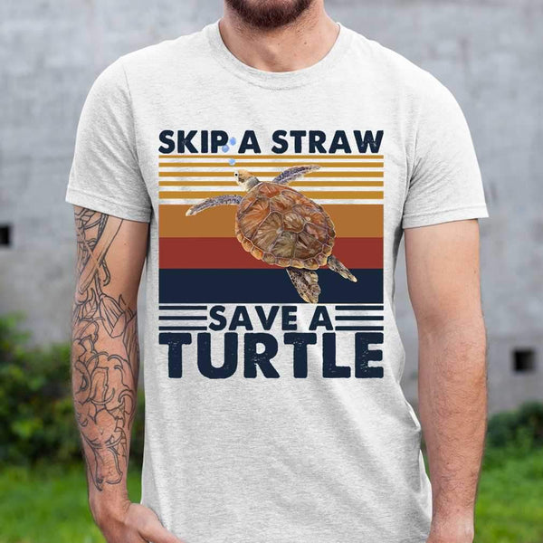 Skip A Straw Save A Turtle Vintage T-shirt S By AllezyShirt