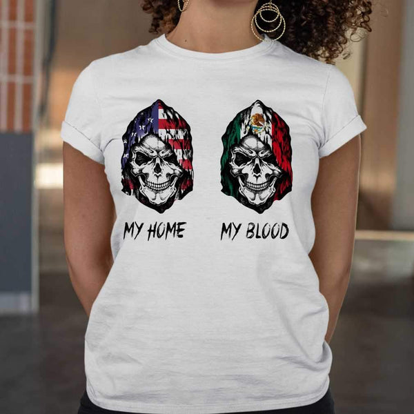 Skull My Home American Flag My Blood Mexico Flag T-shirt M By AllezyShirt