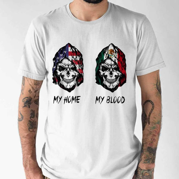 Skull My Home American Flag My Blood Mexico Flag T-shirt S By AllezyShirt