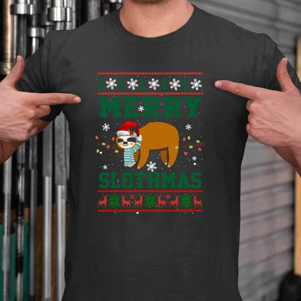 Sloth Merry Christmas Slothmas T-shirt S By AllezyShirt