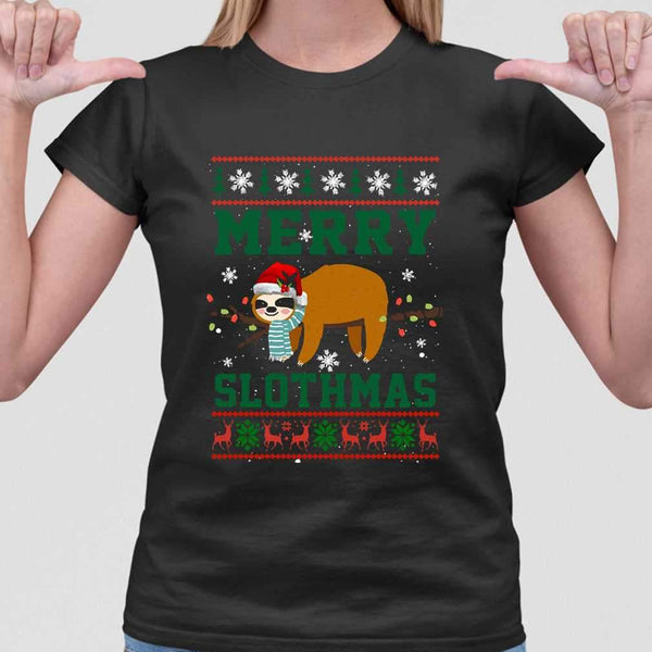 Sloth Merry Christmas Slothmas T-shirt M By AllezyShirt
