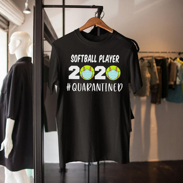 Softball Players 2020 Quarantined Covid-19 Black Shirt S By AllezyShirt