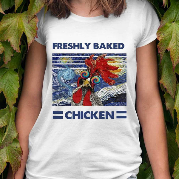 Starry Night Van Gogh Freshly Baked Chicken Vintage T-shirt S By AllezyShirt